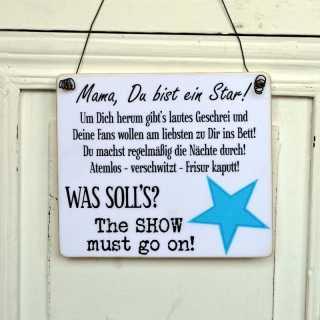 Lustiges Schild aus Holz MAMA DU BIST EIN STAR