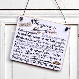 FRÜHLINGSERWACHEN Holzschild Wortcollage 20x17 (L)