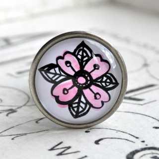 Möbelknöpfe INKY FLOWER Möbelknopf PINK FLOWER