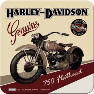 Harley-Davidson FLATHEAD Metalluntersetzer Nostalgic Art 9x9cm