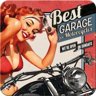 BEST GARAGE - RED Metalluntersetzer Nostalgic Art 9x9cm