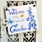 Schild Dekoschild Holzschild WELCOME TO MY BEAUTIFUL GARDEN