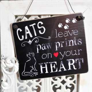 Dekoschild Holzschild CATS LEAVE PAWPRINTS ON YOUR HEART