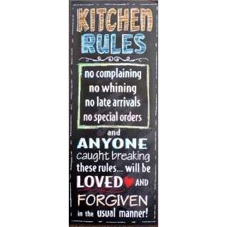 Vintage Dekoschild KITCHEN RULES im TAFEL-DESIGN