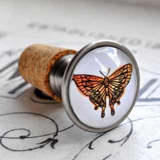 Flaschenkorken Verschluss ORANGE SUN mit Schmetterlingsmotiv