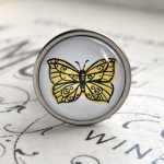 Flaschenkorken Verschluss ZITRONENFALTER mit Schmetterlingsmotiv gelb