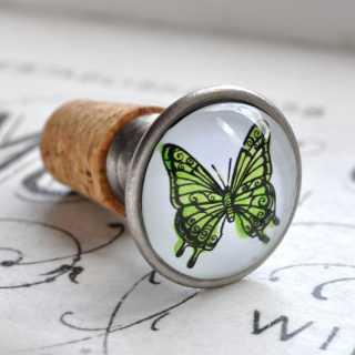 Flaschenkorken Verschluss PAPILLON VERT mit Schmetterlingsmotiv grün