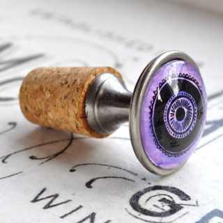 Verspielter Flaschenkorken Flaschenverschluss PURPLE CIRCLE