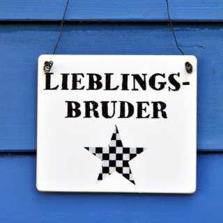 LIEBLINGSBRUDER Schild aus Holz weiß schwarz mit STERN