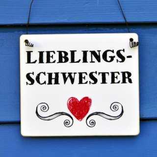 LIEBLINGSSCHWESTER Schild aus Holz mit rotem Herz