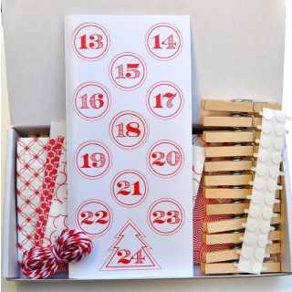 Adventskalender-Set inkl. Papiertüten Klammern Zahlen Kordel