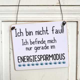 Lustiges Schild FAULHEIT ENERGIESPARMODUS