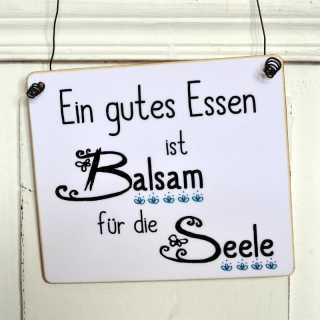 Holzschild GUTES ESSEN BALSAM FÜR DIE SEELE