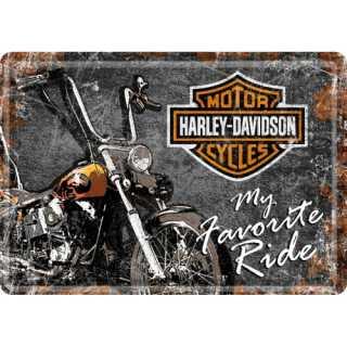 HARLEY DAVIDSON FAVOURITE RIDE Blechpostkarte 14x10 cm