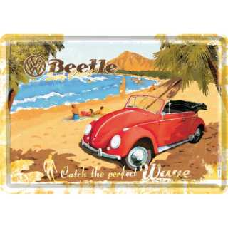 VW BEETLE - READY FOR THE BEACH Blechpostkarte 14x10 cm