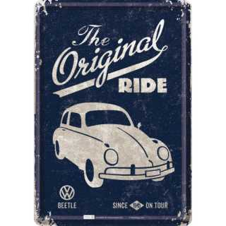 VW BEETLE - THE ORIGINAL RIDE Blechpostkarte 14x10 cm