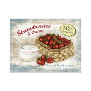 STRAWBERRIES & CREAM Magnet im Landhausstil 6x8 cm