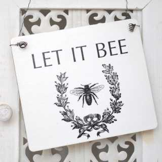 Shabby Chic Holz-Schild LET IT BEE Vintage-Biene 17 x 20 x 0,4 cm